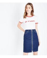 New Look   Blue Rinse Wash Zip Front Denim Midi Skirt   Lyst