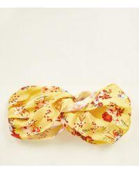 New Look - Yellow Floral Satintwist Headband - Lyst