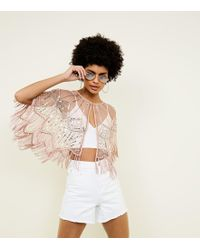 New Look - Pink Sequin Embellished Tassel Cape - Lyst