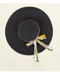 f21f8b2089bda New Look - Yellow Chain Print Ribbon Floppy Hat - Lyst