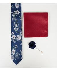 New Look - Tie With Pocket Square And Lapel Pink Set In Navy Floral Print - Lyst