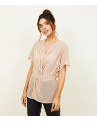 New Look - Pale Pink Sequin Embellished Twist Front Blouse - Lyst