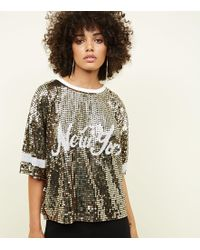 New Look - Gold New York Sequin T-shirt - Lyst
