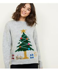 New Look - Light Grey Christmas Tree Jumper - Lyst