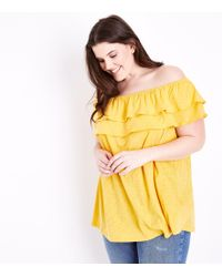 New Look - Curves Yellow Ruffle Bardot Neck Top - Lyst