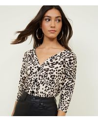 0459322586a4e New Look Green Leopard Print Button Through Front Knit Top in Green ...