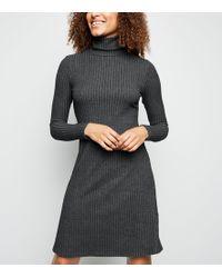 336e67242469 New Look - Tall Dark Grey Brushed Rib Knit Roll Neck Dress - Lyst