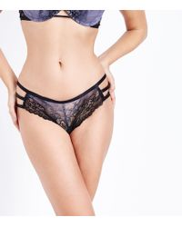 New Look | Black Floral Lace Ombre Brazilian Briefs | Lyst