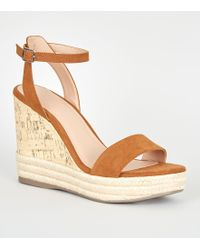 17831be99a43 New Look Tan Suedette Ankle Strap Espadrille Wedges in Brown - Lyst