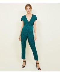 New Look - Dark Green Jacquard Knot Front Jumpsuit - Lyst