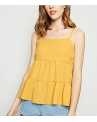 New Look - Yellow Tiered Cami - Lyst
