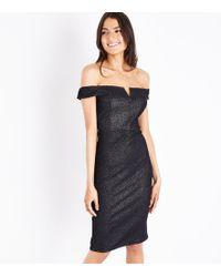 AX Paris - Black Glitter Bardot Neck Midi Dress - Lyst