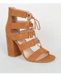 b5c7dd914188 New Look Light Brown Suedette Low Block Heel Ghillie Sandals in ...
