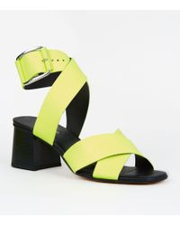 3fcf604f2fc New Look - Yellow Premium Neon Leather Cross Strap Sandals - Lyst