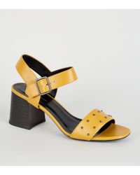 381465fad New Look Camel Stud Trim Block Heel Gladiator Sandals in Natural - Lyst