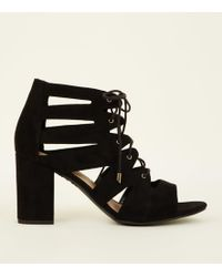 4b015927bf33 Valentino Black Garavani Patent And Velvet Ghillie Heels in Black - Lyst