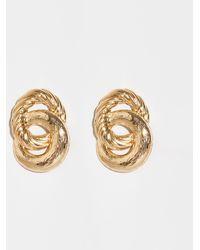New Look - Gold Embossed Linked Hoop Earrings - Lyst