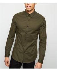 New Look - Khaki Long Sleeve Muscle Fit Oxford Shirt - Lyst