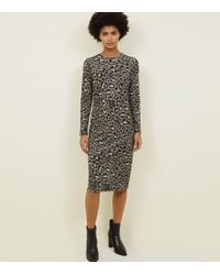8ae5c25838 New Look - Khaki Leopard Print Slinky Jersey Midi Dress - Lyst