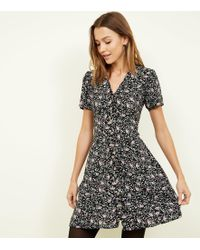 New Look - Black Ditsy Floral Button Through Tea Dress - Lyst