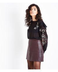 New Look   Burgundy Leather-look Mini Skirt   Lyst