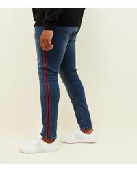 fdb9d9f0e00c New Look Skinny Jeans With Red Side Stripe In Blue Wash in Blue for Men -  Lyst