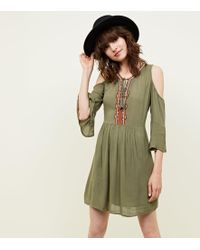 Apricot - Khaki Embroidered Cold Shoulder Dress - Lyst