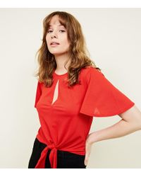New Look - Red Flutter Sleeve Keyhole Tie Front Top - Lyst