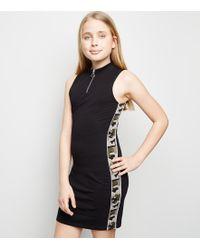 256be565040af New Look - Girls Black Camo Side Stripe Bodycon Dress - Lyst