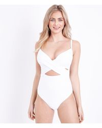 New Look - White Dd-g Underwired Cross Front Swimsuit - Lyst