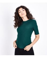 New Look - Teal Ribbed Half Sleeve T-shirt - Lyst