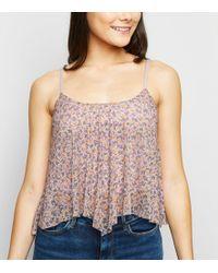 5b33386ce9f8fe New Look - Multicoloured Ditsy Floral Hanky Hem Top - Lyst