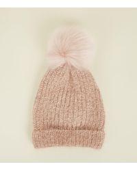 a3d5947c05b New Look - Mink Ribbed Faux Fur Bobble Hat - Lyst