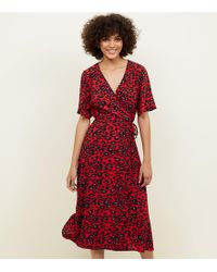 New Look - Red Animal Print Midi Wrap Dress - Lyst