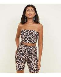 New Look - Brown Leopard Print Cycling Shorts - Lyst
