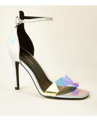 12a9d6f9560 Missguided Waverly Pink Holographic Platform Sandals in Pink - Lyst