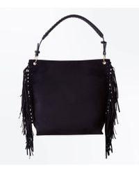 New Look - Black Suedette Fringe Side Hobo Bag - Lyst