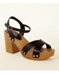 6ce1ee8dbc6d New Look Tan Wooden Block Heel Gladiator Sandals in Brown - Lyst