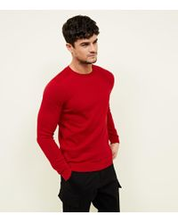 New Look - Red Crew Neck Jumper - Lyst
