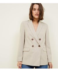 New Look - Cream Marl Double Breasted Blazer - Lyst
