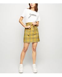 a0fc2c5784 New Look - Mustard Check Tie Waist Paperbag Skirt - Lyst