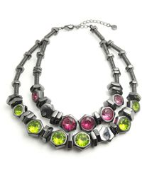 "Nicole Miller - Double Layer Statement Bolt Slide 18"" Necklace - Lyst"