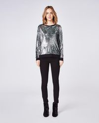 Nicole Miller - Mermaid Sequin Sweatshirt With Piping - Lyst