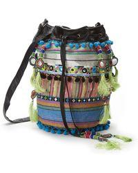 Nicole Miller - Striped Fabric Bucket Bag - Lyst