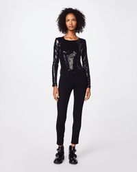 special sales first rate new release Sequin Long Sleeve Bodysuit - Black