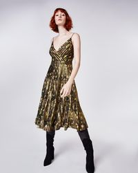Nicole Miller - Foiled Flower Camo Pleated Dress - Lyst