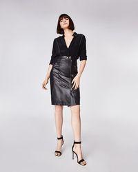 Nicole Miller - Leather Moto Skirt - Lyst