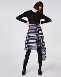 Nicole Miller - Striped Asymmetric Skirt - Lyst