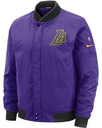 Nike Los Angeles Lakers City Edition Modern Nba Varsity Jacket in ... 94985317a