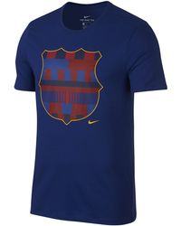 a59cb503d Nike 2017-2018 Barcelona Crest Football T-shirt Men s T Shirt In Red ...